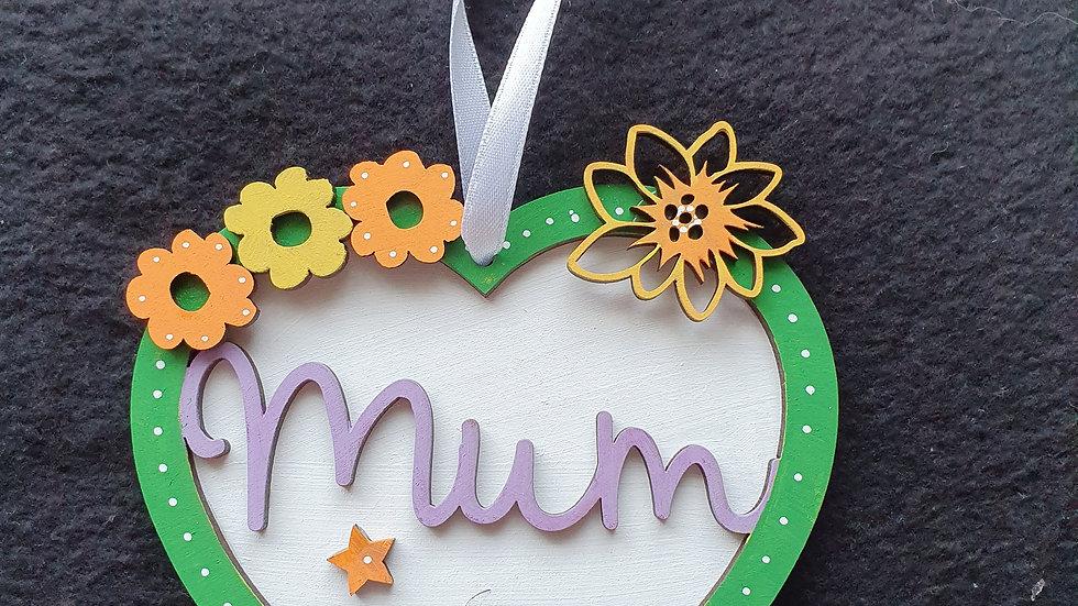 MDF Mum Hanging Heart