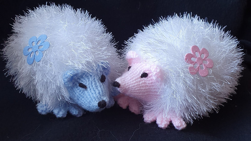 Pair Of Knitted Hedgehogs
