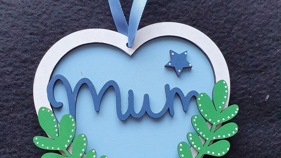 Mum Hanging MDF Heart