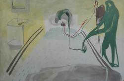 stroke,130x193cm,acrilico, vernice su te