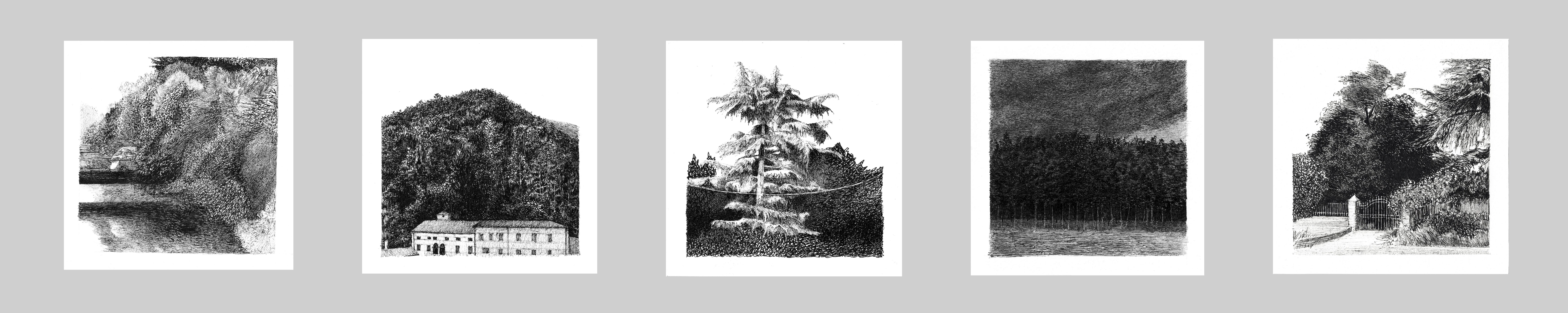 06_Passeggiata, serie di 5 disegni dalla
