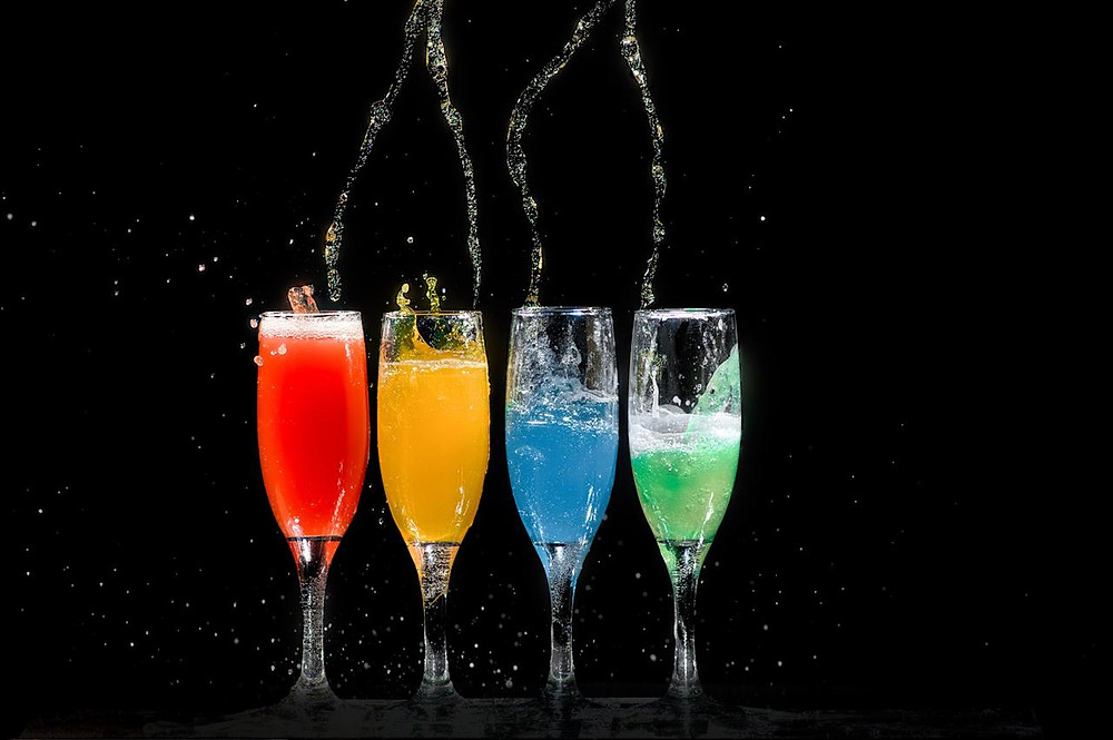 Colorful alcoholic beverages