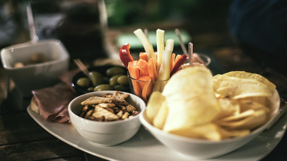 table full of snacks