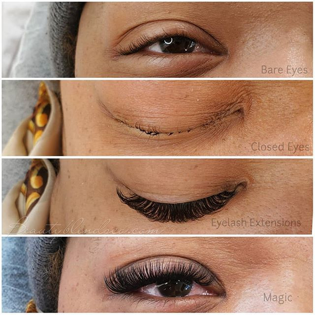 Before and after volume eyelash extensions
