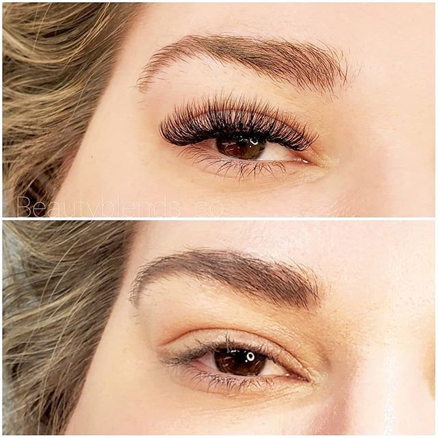 Before and after transformation ! Hybrid Eyelash Extensions