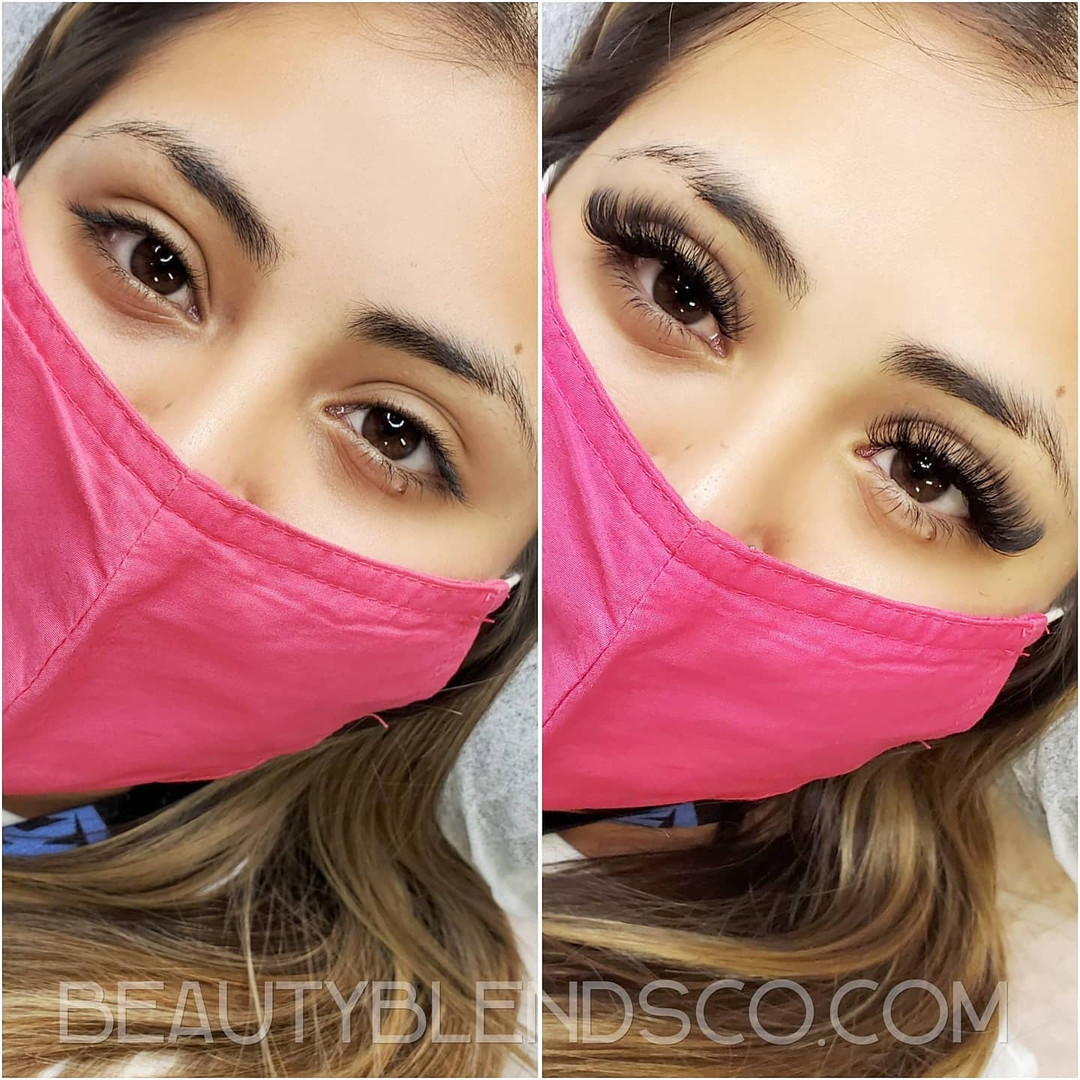 Before and after Hybrid Eyelash Extensions