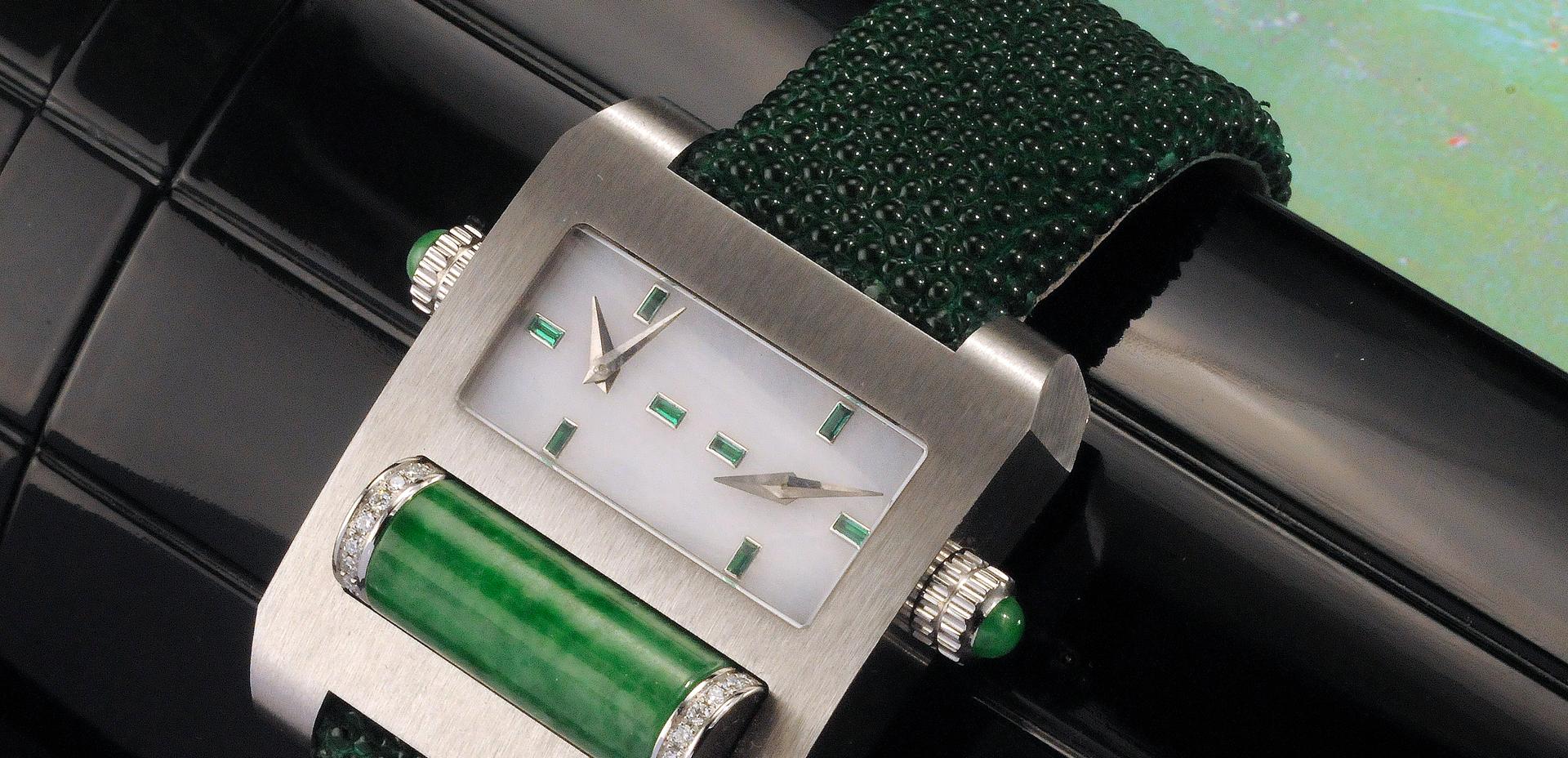 Galuchat vert-boite blanche-diamant-roul