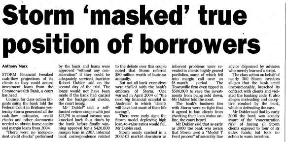 'Storm 'masked' true position of borrowers' Article by Anthony Marx, Courier Mail (Brisbane), 6 March 2013