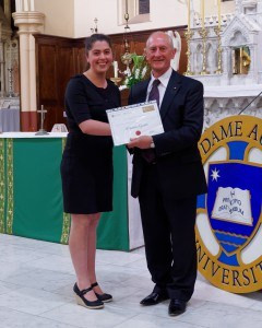 School of Law Awards Sept Madeleine Goodsir with Emeritus Professor Lero...