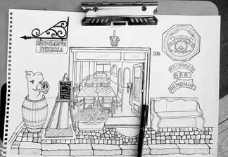 Pen Sketch of Italian Cafe Front