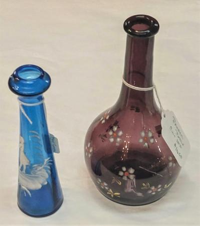 Barber Bottle & Mary Gregory Rose Vase