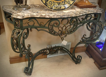 Wrought Iron Marble Top Table