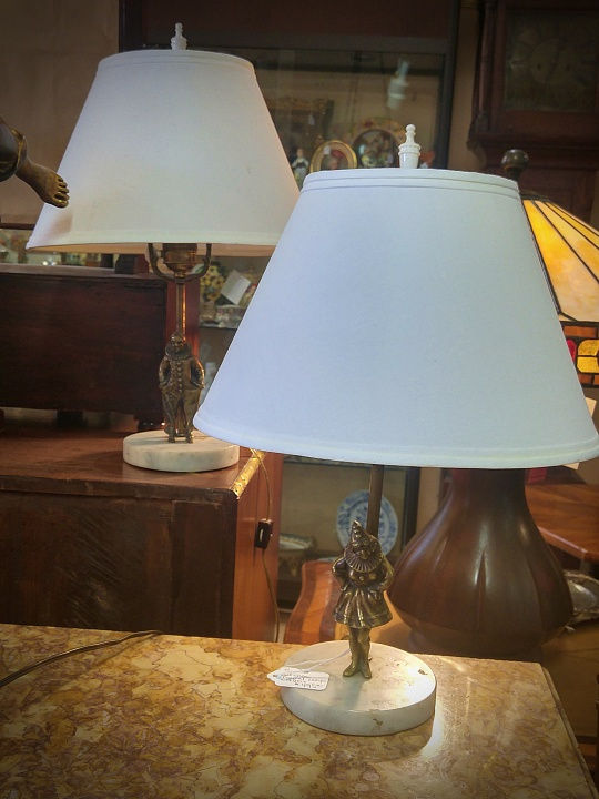 Bronze Figural Table Lamps  Pair