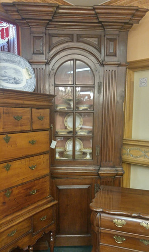 Early American 2 Piece Corner Cupboard