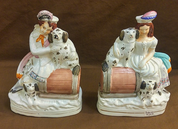 Staffordshire Ladies & Dogs Pottery