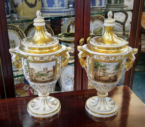 Hand Painted Dresden Urns