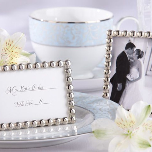 silver pearls mini photo frame