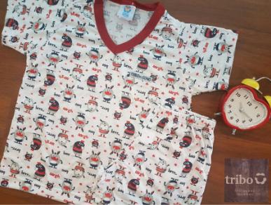 Pijama Infantil Masculino em Algodão, motivo Marinho