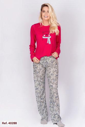 Pijama Inverno Blusa Urso & Calça Estampada