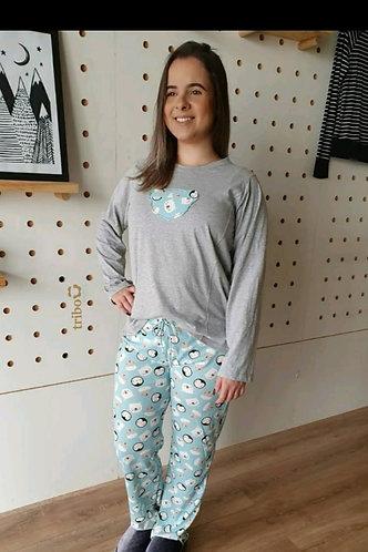 Pijama Mãe, de Inverno, 100% Algodão (coleção mãe e filha).