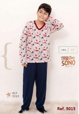 Pijama Infantil Masculino em Algodão, Blusa Estampada e Calça Lisa