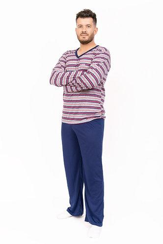 Pijama adulto masculino, de inverno, 100% algodão.