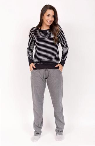 Pijama Letícia Inverno Listrado, Calça Lisa