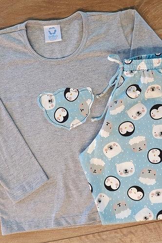 Pijama Filha, de Inverno, 100% Algodão (coleção mãe e filha).
