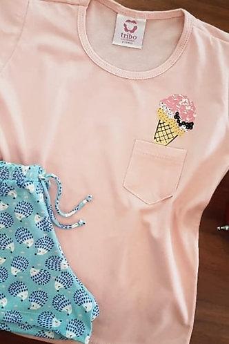 Pijama Filha Malha 100% Algodão Bolsinho Lateral com Estampa de Sorvete
