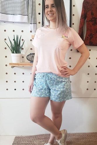 Pijama Mãe Malha 100% Algodão Bolsinho Lateral com Estampa de Sorvete