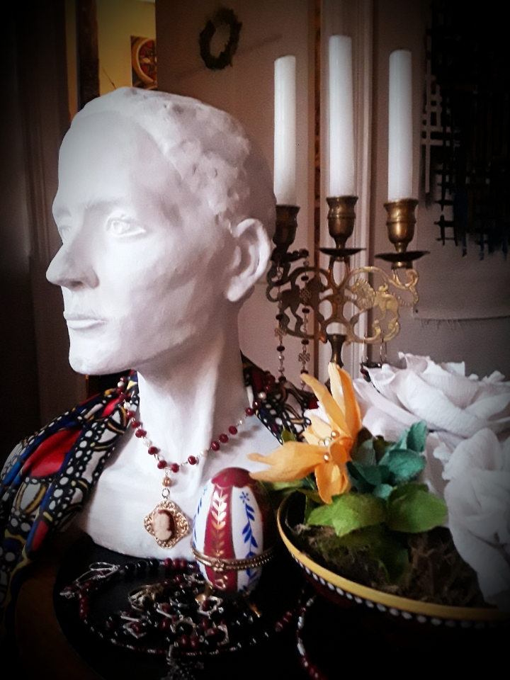 Bust Wrapped in Rivera-Ramos Satin Silk Shawl