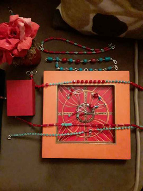 Hand-Painted One-of-a-kind Orange and Red Valet Tray