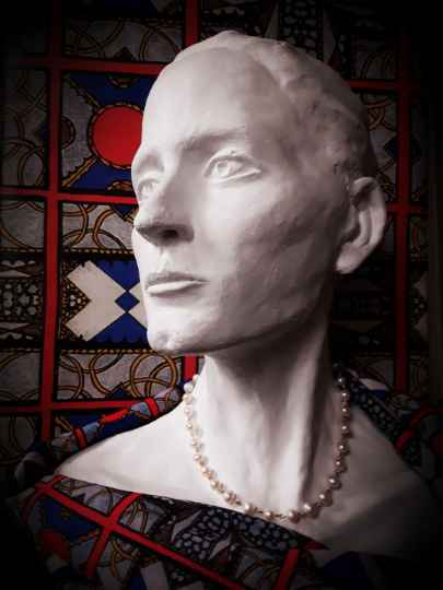 Hand Sculpted Bust, Pearls, Silk and Wall Paper