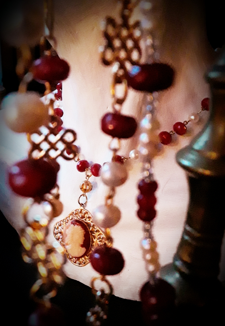 'House of Tudor' Hand-wired Rubies and White Pearls