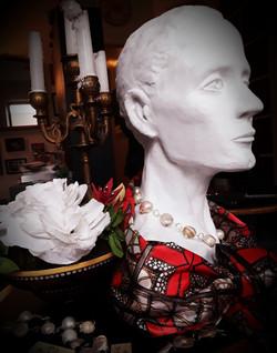Paper Flower Arrangement, Satin Silk and Baroque Pearls