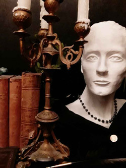 Antique Candelabra, Bust and Books