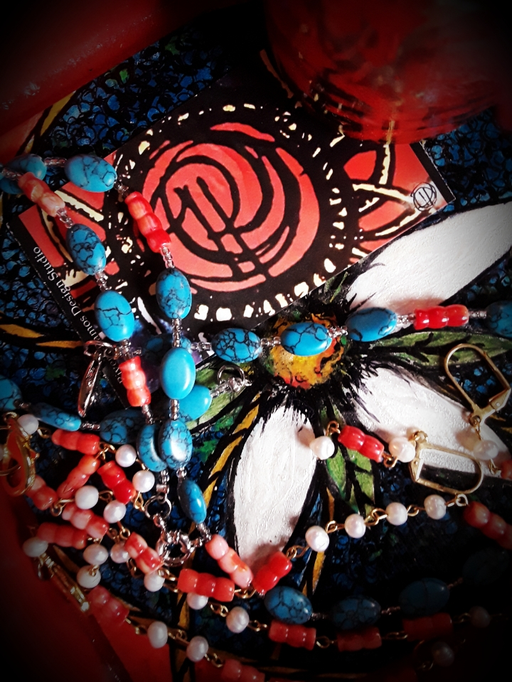 Red Coral, Natural Pearl and Turquoise