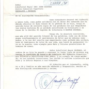 Carta de Despido Restos Mortales Teniente General Anaya