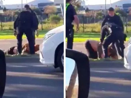 Police hit Victorian man with car before stomping on his head, video reveals