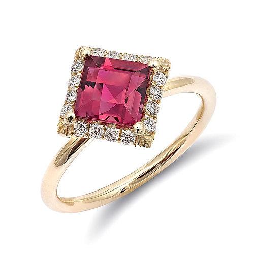 14k Yellow Gold 1.45ct TGW Natural Pink Tourmaline Diamond Halo Engagement Ring