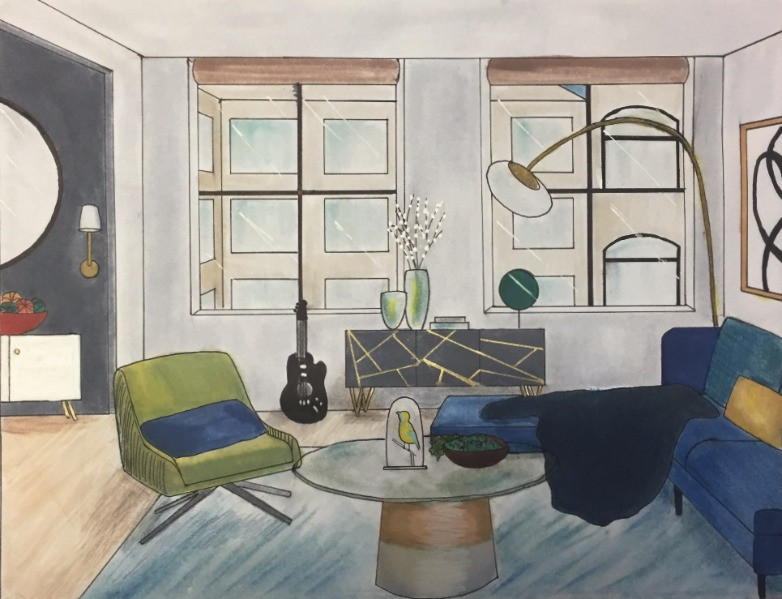 Interior Living Room One Point Perspective