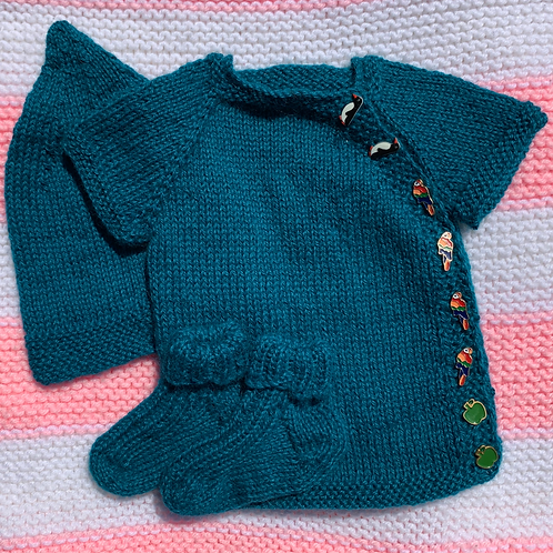 New Born Baby Sweater, Booties & Hat