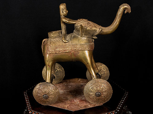 "Indian ""Temple Toy"" Bronze Elephant on Wheels, 19th Century"