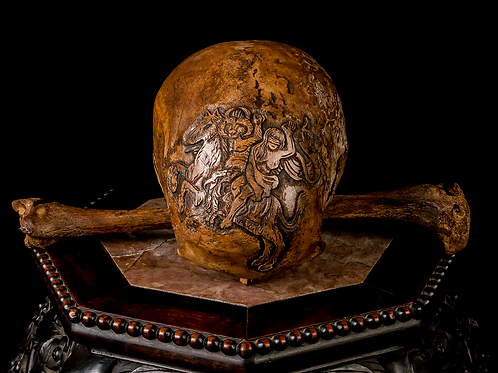 Carved Human Skull - Demon & Witch