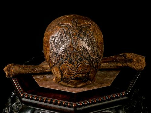 Carved Human Skull - Baphomet