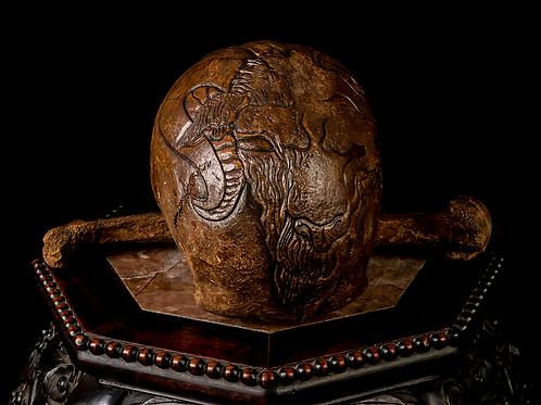 Carved Human Skull - Demonic Goat