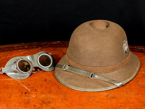 German WWII Afrika Korps Pith Helmet with Goggles