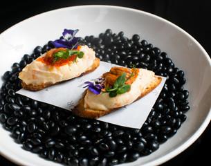 Ensaladilla –Sea urchin, white tuna belly & potato salad on toast