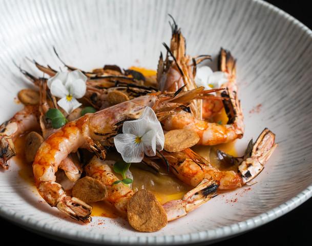 Gambas –Grilled prawns with garlic praline & Amontillado