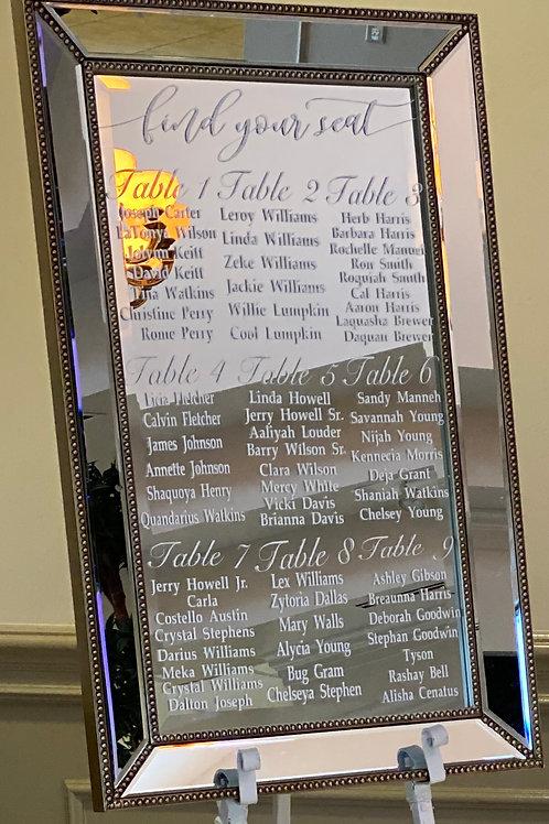 Mirrored Glass Seating Chart